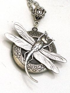 Pre Holiday Sale - Steampunk - SWEET DRAGONFLY LOCKET Necklace - Antique Silver Pendant - Neo Victorian - By GlazedBlackCherry