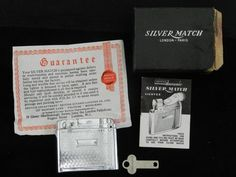 Vintage Silver Match Butane Lighter  Incl. Box, Accessories, Guarantee, Instructions & Advert