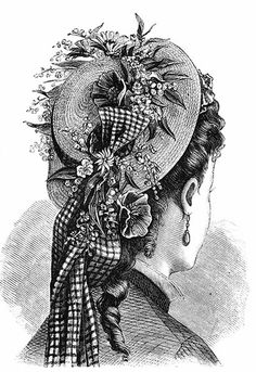Italian Straw Bonnet, with flat crown and broad brim, trimmed with a wreath of flowers of different colors and with blue net gauze, which is arranged in long ends falling in the back. Inside, the bonnet is furnished with a band trimmed with flowers like those on the crown. 1876 hat