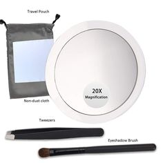 Mirror with 20x magnification, made with optical quality glass; 4Inches round . This is to stick on my other travel mirror!