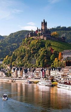 Most Scenic Waterways Reichsburg Castle, Cochem, Germany. Yes those are vineyards surrounding the castle! Yes those are vineyards surrounding the castle! Places Around The World, The Places Youll Go, Places To See, Around The Worlds, Beautiful Castles, Beautiful Places, Beautiful Pictures, Beautiful Sites, Beautiful Beautiful