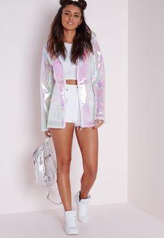 Holographic Rain Mac Pearlescent Pink - Coats and Jackets - Rain Macs - Missguided