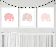 Excited to share the latest addition to my #etsy shop: Elephant Nursery Prints, Elephant Nursery Artwork, Printable Nursery Artwork, Elephant Themed Nursery, Pink Elephants, Elephant Baby Artwork