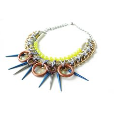 Glowstick, neon rope necklace, studs spikes and vintage beads, neon... ❤ liked on Polyvore