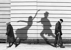 I like this photo because of how contrasting the black and white it and the idea that the photo is showing. I think the old people showing that their insides are apart from their bodies showing that they are apart.