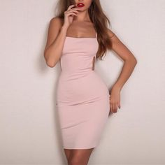 Sexy backless summer dress mini Women hollow out slim bodycon dress Evening party club short dress Mini Dresses For Women, Trendy Dresses, Women's Fashion Dresses, Sexy Dresses, Summer Dresses, Backless Mini Dress, Bodycon Dress With Sleeves, Necklines For Dresses, Clubwear