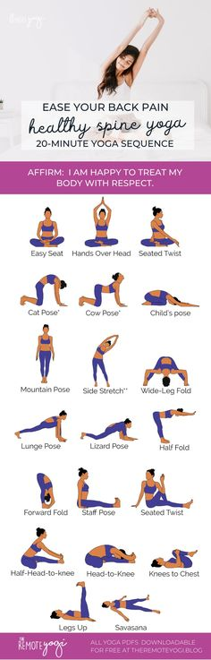 Yoga Flow Against Back Pain - Free Printable PDF - This sequence is designed to . - Yoga Flow Against Back Pain – Free Printable PDF – This sequence is designed to help relieve lo - Fitness Del Yoga, Fitness Workout For Women, Yoga Flow, Yin Yoga, Yoga Meditation, Yoga Sequences, Yoga Poses, Pranayama, Mountain Pose