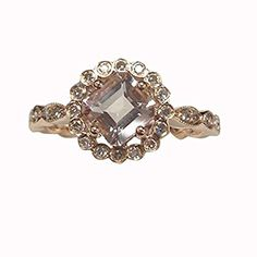 $539 Asscher Morganite Engagement Ring Pave Diamond Wedding 14K Rose Gold 6x6mm,Art Deco Floral Halo LOGR-Morganite Rings http://www.amazon.com/dp/B00LZS5NGM/ref=cm_sw_r_pi_dp_8WI2wb0NEVFEY