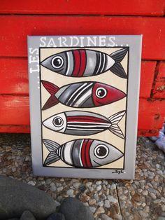 """""""Les 4 sardines"""" tableau du bord de mer"""