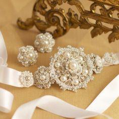 Custom Lace Wedding Bracelet and Earring Set by Edera Jewelry
