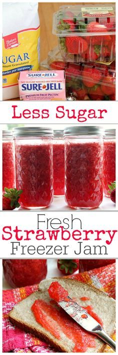 Step by Step instructions and Pictures for Sure-Jell Less Sugar Strawberry Freezer Jam. I promise you won't miss the sugar. ~ http://reallifedinner.com