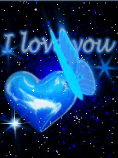 cuore blu con scritta i love you