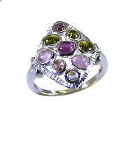 ravishing Tourmaline 925 Sterling Multi Ring suppiler L-1in US 5678