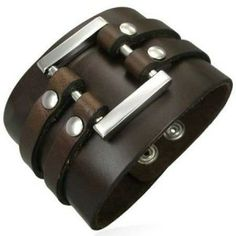 Brown Leather Cuff Bracelet For Men 50mm
