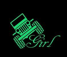 Jeep Girl - Vinyl Decal Choose Size and Color Made with Automotive Grade… Cricut Vinyl, Vinyl Art, Vinyl Decals, Vinyl Crafts, Vinyl Projects, Circuit Projects, Jeep Decals, Jeep Wrangler Stickers, Vehicle Decals