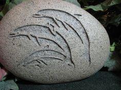 Engraved River Rock  Three Dolphins via Etsy