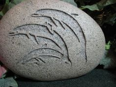 Engraved River Rock  Three Dolphins