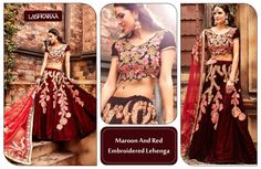Maroon and Red Embroidered Lehenga  This lush maroon and red #EmbroideredLehenga has the all the makings of a modern day fairytale. #ShopOnline #IndianFashion #StyleDiaries #Lashkaraa  Shop At: https://www.lashkaraa.com/maroon-and-red-embroidered-lehenga.html