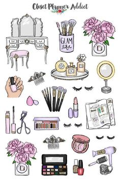 Ideas for bullet journal doodles - Makeup and Cosmetics hand drawing # Fitness journal Beauty Babe Planner Stickers Tumblr Stickers, Cute Stickers, Image Stickers, Printable Planner Stickers, Closet Planner, Makeup Stickers, Doodle Pages, Journal Stickers, Diy Origami