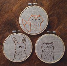 embroidered woodland animal portraits woodland por sleepyking More - Embroidery Hoop Nursery, Hand Embroidery Stitches, Modern Embroidery, Cross Stitch Embroidery, Embroidery Patterns, Knit Stitches, Stitch Patterns, Woodland Animals, Cross Stitching