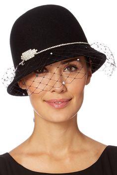 Top Hat by Stephen Jones Designer black diamante trim veiled cloche hat de726c87006