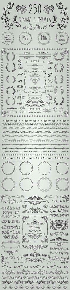 Typography Big Set of 250 Handsketched Design Elements (Transparent PNG CS 500500 Doodles, Chalkboard Art, Bullet Journal Inspiration, Banners, Design Elements, How To Draw Hands, Filofax, Clip Art, Letters