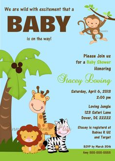5x7 Safari Baby Shower Invitation by Announcements Plus on Etsy, $15.00