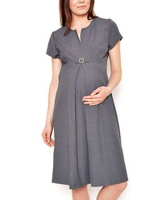 1d112dff0b8a4 Look at this Gor&Sin Gray Buckle Maternity Empire-Waist Dress on #zulily