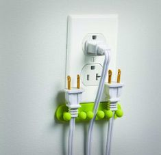 Why reach all the way to the floor when you need to pick up a power cord plug? Reach 10 inches less when you use the outlet plug holder. The outlet plug holder attaches right below your wall outlet an...