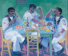 a painting of three Greek sailors around a table enjoying food and wine