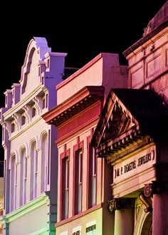King Street Facades at Night, Charleston, SC