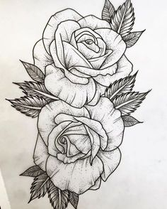 ▷ 1001 + Ideen und inspirierende Bilder zum Thema Rosen Tattoo - - ▷ 1001 + Ideen und inspirierende Bilder zum Thema Rosen Tattoo Malen und zeichnen here are rose tattoo template here are two large white rose tattoos with black leaves Rose Drawing Tattoo, Tattoo Sketches, Tattoo Drawings, Drawing Pin, Art Drawings, Flower Drawings, Drawing Base, Drawing Ideas, White Rose Tattoos