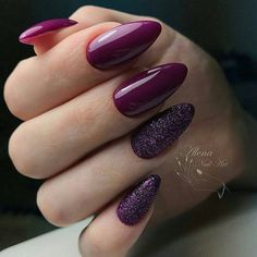 Trendy Manicure Ideas In Fall Nail Colors;Purple Nails; Purple Glitter Nails, Burgundy Nails, Red Nails, Matte Nails, Acrylic Nails, Burgundy Wine, Acrylic Art, Fall Gel Nails, Autumn Nails