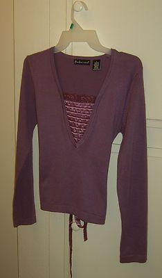 Pandemonium Women's Blouse Lavender Lacy neckline. Size Large  Czech it out! $14.99 on Ebay