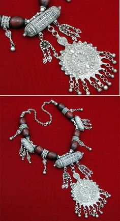 Yemen | Antique Bosani silver beaded necklace from the Sana'a province.