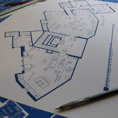 Decorative hand-drawn fictional floor plans based on your favorite TV show homes.  11x17