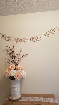 Rustic Floral Bridal Shower Bride To Be Banner Pink Hydrangeas And