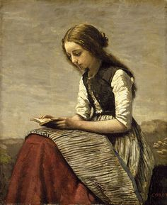 Jean-Baptiste-Camille Corot 'Girl Reading' aka 'The Little Book-Worm' c.1850-55 | Flickr - Photo Sharing!