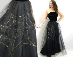 Vintage 40s Black Evening Dress | Spider Web Sequin Dress