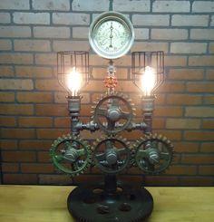Steampunk Lamp Light Industrial Art Machine Age Salvage Steam Gauge Gears