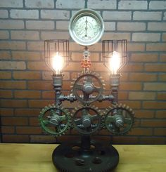 Steampunk Lamp Light Industrial Art Machine Age Salvage Steam Gauge Gears