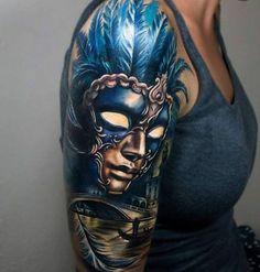 Carnival Tattoo Designs carnival of venice sleeve best tattoo ideas . 3d Tattoos, Body Art Tattoos, Girl Tattoos, Sleeve Tattoos, Tattoos For Women, Rose Tattoos, Tattos, Best Cover Up Tattoos, Great Tattoos