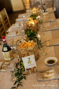 Use Old Corks | Bright lights and beautiful. Adding a centerpiece to a table immediately makes it look sophisticated, complete, and beautiful.