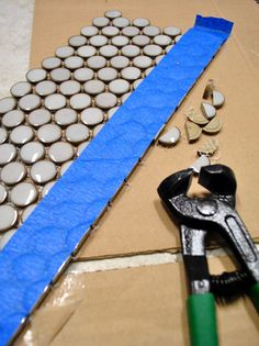 Gah! Tips for snipping mosaic/penny tile on Young House Love today, for the kitchen backsplash.