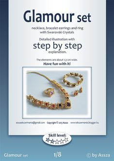 Step by step tutorial for my Glamour set (necklace, bracelet, ring and earrings). Tutorial includes 2 pages of detailed illustration with step by step explanation to create this beautiful bead set. You can use the beads and colors that are shown or do your own thing. The elements are