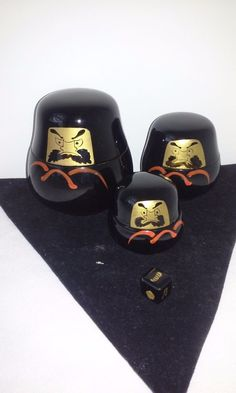 Vintage Antique Japanese Daruma Nesting Dolls with Dice Black Lacquer