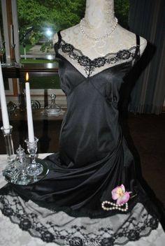 Vtg Black Onyx Rosette French Lace Full Slip Dress Plus Size 44 46 NEW Nightgown #Sliperfection #FullSlips