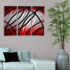 Abstract Modern Metal Wall Art Red Home Decor Secret Admirer Jon Allen Handmade