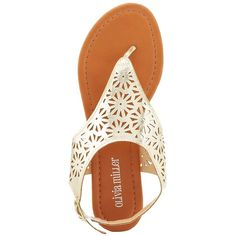Olivia Miller Laser Cut Thong Sandals ($15) ❤ liked on Polyvore featuring shoes, sandals, flip flops, white, gold, floral flat shoes, metallic flat sandals, olivia miller sandals, slingback flat sandals and cushioned sandals