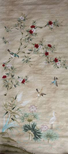 new wallpaper inspired by Chinese wallpaper in England from mid century Scenic Wallpaper, New Wallpaper, Free Wallpaper Samples, Chinese Wallpaper, Relax, Chinoiserie, 18th Century, Needlework, Create